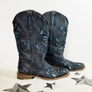 Roper cowboy boots distressed metallic blue floral